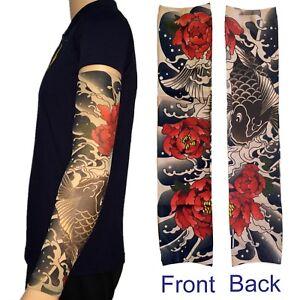 Fish Roses Tattoo Sleeve Temporary Tatoo Koi Temp Sleeves Arm