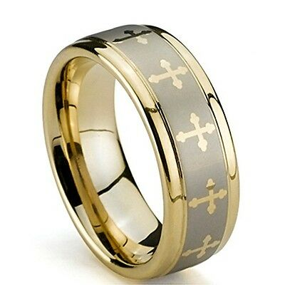8MM Men's Tungsten Wedding Ring, Raised Brush Inlay, Gold Rounded Crosses