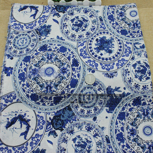 Porcelain Flower Linen Fabric Chinese Tribal for Clothes Dress By Meter Blue New