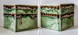 Vintage-Hope-Warren-California-Pottery-MCM-Drip-Glaze-Wall-Pocket-Planter