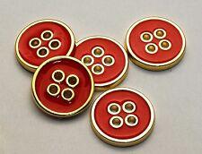 Set di 6 Bottoni tondi in lega di metallo color oro con 4 fori e smalto rosso