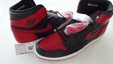 Mens Size 18 Nike Air Jordan Retro 1 bred Banned. Black/Red 555088-001