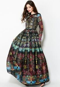 Womens-Floral-Printing-Dress-Long-Sleeves-Maxi-Gown-Ball-Occident-Designer-S-2XL