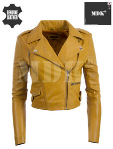 Dames Fashion Mdk Leather Cropped f0gz Jacket Real dwgaaHxqSp