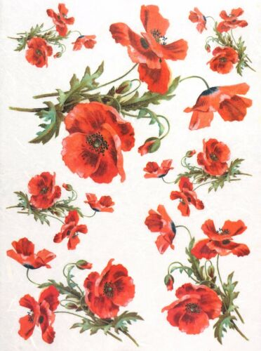 Papel De Arroz Para Decoupage Decopatch Scrapbook Craft Hoja Rojo Amapola Medio