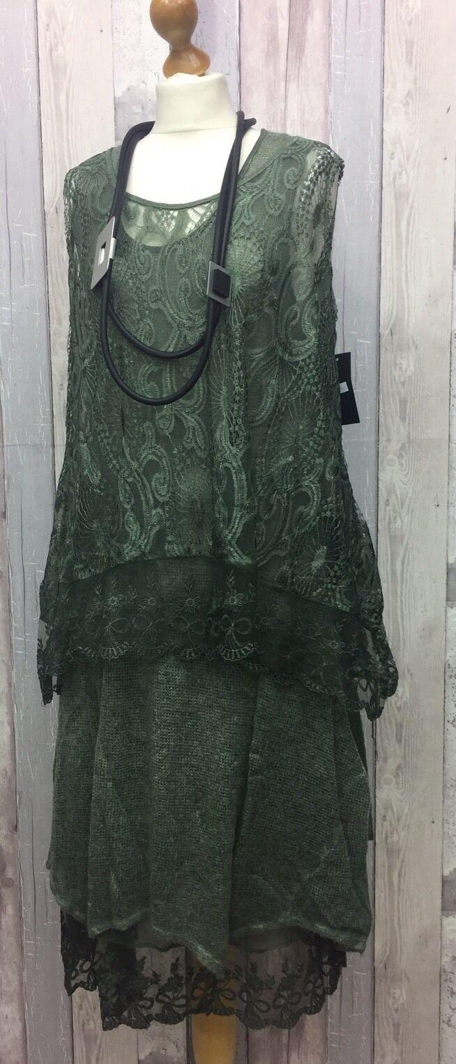 """SARAH SANTOS Grün sauge laine & dentelle 2PC robe Größe s 42""""B 12-14-16 lagenlook"""
