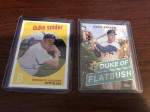 2-Card-Lot-Duke-Snider-2018-1958-Reprint-2020-Duke-of-Flatbush-poster-card-Topps
