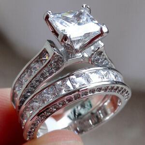 Sterling Silver Wedding Sets.Details About Princess White Cz 925 Sterling Silver Wedding Band Engagement Ring Set Size 5 10