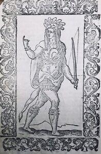 Indiens-d-Amerique-1598-USA-Rarissime-Gravure-sur-Bois-publiee-a-Venise-Vecellio