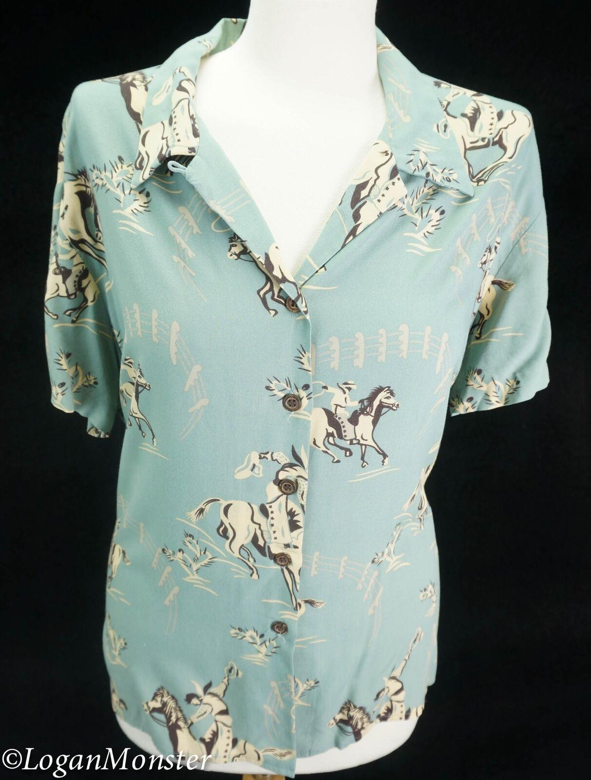Reyn Spooner M Medium damen Grün Horses Rodeo Cowboy Hawaiian Aloha Shirt