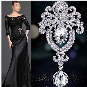 Silver-Crystal-Large-Flower-Bridal-Brooch-Rhinestone-Diamante-Wedding-Broach-Pin
