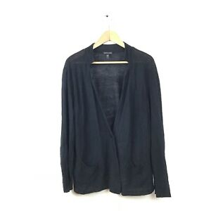 Eileen-Fisher-Sweater-XL-Black-Cardigan-Long-Sleeve-V-Neck-Women-s-Light-Weight