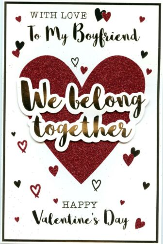 BOYFRIEND VALENTINES CARD GREAT QUALITY 2 DESIGNS TO CHOOSE FROM