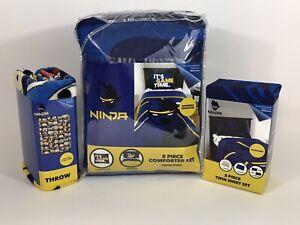 Team Ninja Reversible Twin/Full Comforter, TWIN Sheet Set & 46 x 60 Blanket