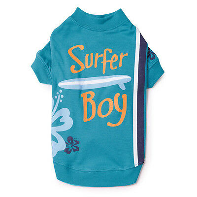 Surfer Boy Surf's Up! Dog Puppy Tee  Turquoise Size: SMALL/MEDIUM