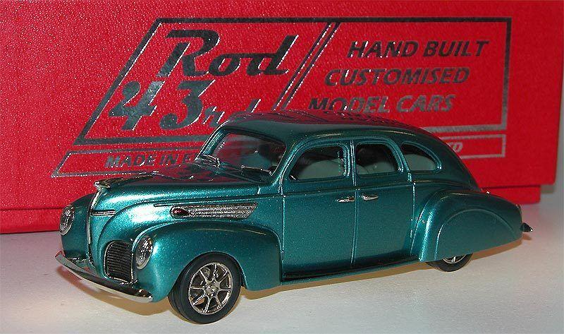 BROOKLIN Rod 03, 1938 LINCOLN ZEPHYR 4-door, Custom Car, turquoise, 1 43