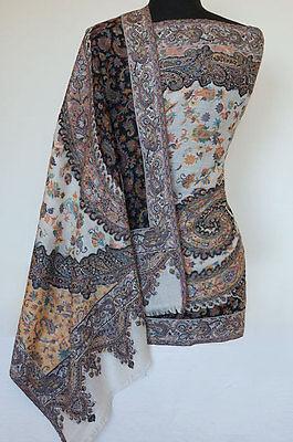 Wool Paisley Jamavar Shawl Hand-Cut Kani Jacquard Stole Ivory Black Pashmina