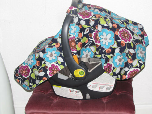 """NEW baby INFANT  car seat cover shade cotton BLANKET lined 30/""""X40/"""" blue print"""