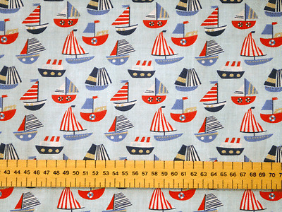 SAILING BOATS ON SKY BLUE BACKGROUND - PRINTED POLYCOTTON FABRIC