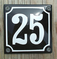 Classic Enamel House Number Sign. White No.25 On A Black Background 10x10cm.
