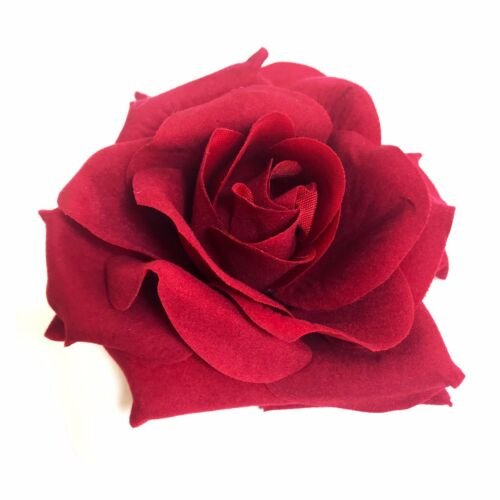 Large Deep Red Rose Hair Flower Clip xx
