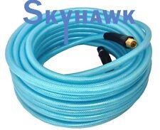 """1/4"""" X 50' Air Hose 50 FT FLEXIBLE BRAID ROOFING CLEAR BLUE PVC NPT 300 PSI"""