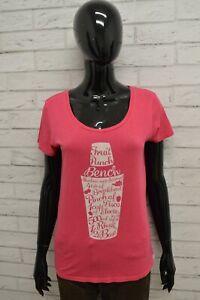 Maglia-BENCH-Donna-Taglia-Size-M-Maglietta-Shirt-Woman-Cotone-Manica-Corta-Rosa