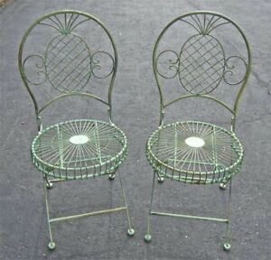2-Folding-Chairs-Garden-Patio-Set-Pineapple-Design-Antique-Green-Iron