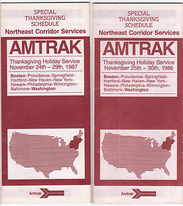 Amtrak-1986-amp-1987-Thanksgiving-Special-Schedule-Timetables-Northeast-Corridor