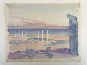 Karl Adser 1912 Watercolour Evening Mood Sunset Coastal Scenery IN Pastel Shades