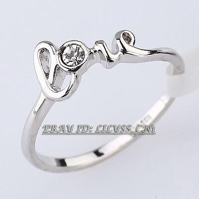 B1-R662 Fashion 'Love' Ring 18KGP CZ Rhinestone Crystal Size 6-9