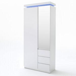 Büroschrank weiß lack  Garderobenschrank Ocean Schrank Weiß Hochglanz Lack RGB Beleuchtung ...