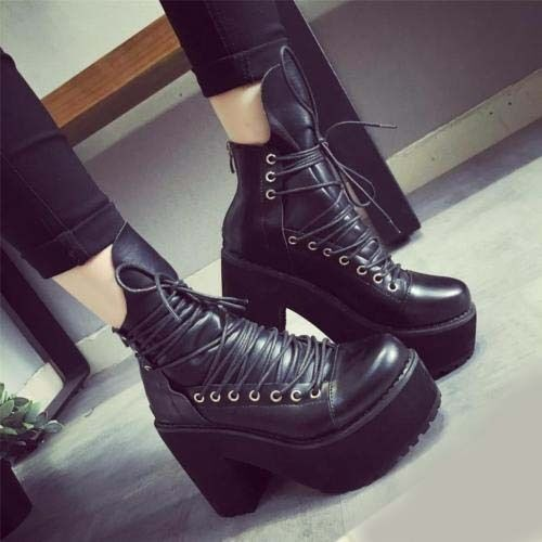punk women's booties lace up gothic platform block high heel motor ankle boots