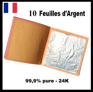 10-Feuilles-d-039-Argent-99-9-pure-24K-Silver-Leaf-24-Carats-Pure-edible