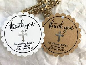 10-White-Gift-Tags-Religious-Cross-Baptism-Christening-Bomboniere-Personalised