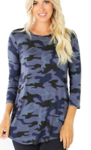 Women-039-s-Navy-Camouflage-Print-3-4-Sleeve-Round-Hem-Perfect-Fit-Quality-Top