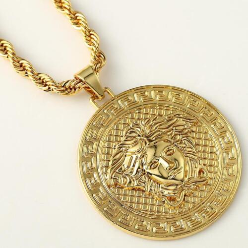 Medusa Head Pendant 18k Gold Chain Necklace Shiny Iced Bling Icy Rapper Fashion