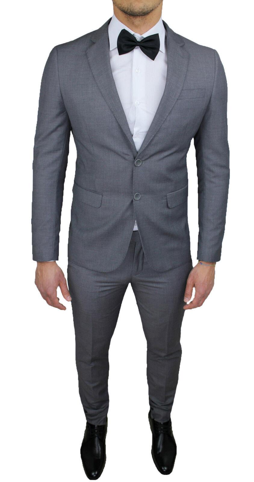 Men's Suit Diamond Sartoriale Grey New Tight Slim Fit Formal Elegant