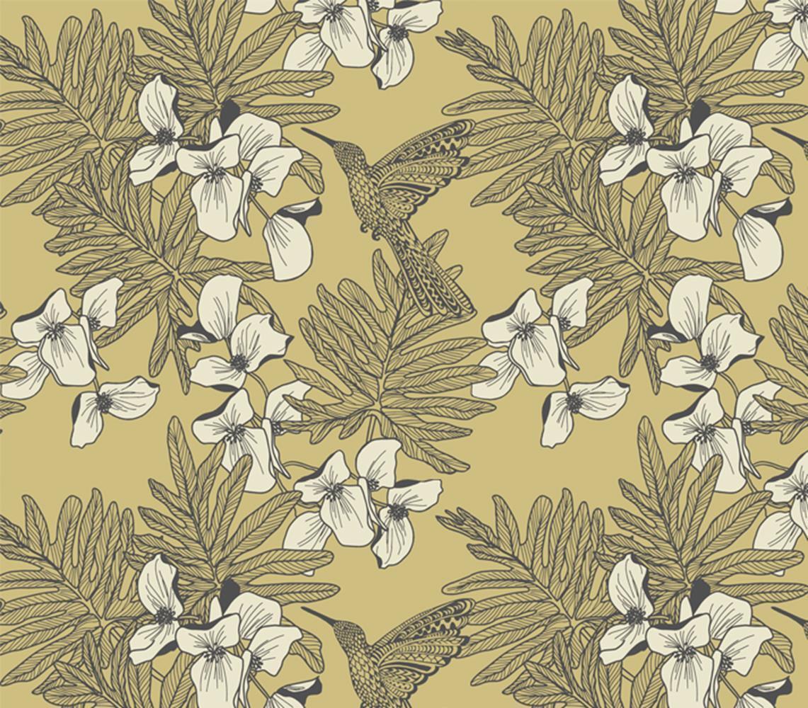 1804 117 01 Aurora Floral Hummingbirds Mustard 1838 Wallpaper