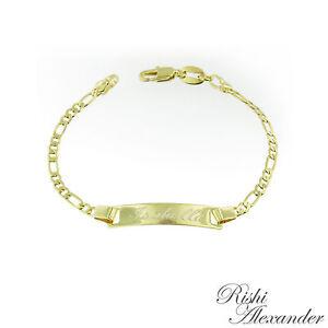 Image Is Loading 18k Gold Filled Figaro Link Childrens Id Bracelet