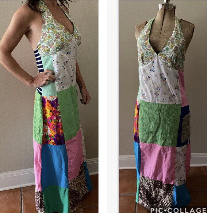 Vintage Handmade 60s Floral Patchwork Quilt Dress… - image 1