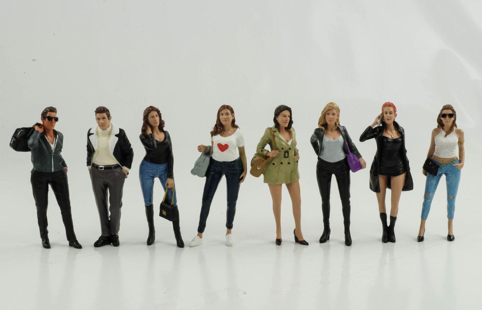 Figurine Ladies Night Set 8 Piece Woman Mann Figurines 1 18 American Diorama New