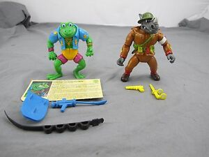 Dimwit-Doughboy-Rocksteady-and-Genghis-Frog-tmnt-Action-Figures-Playmates-1989