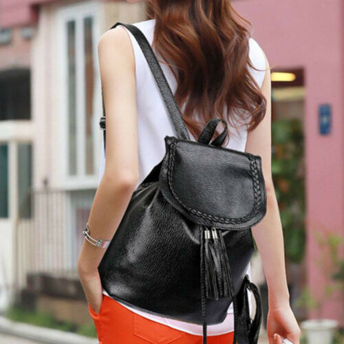 PU Leather Backpack Tassel Style Soft Casual Shoolbag Shoulder Bags Fashion