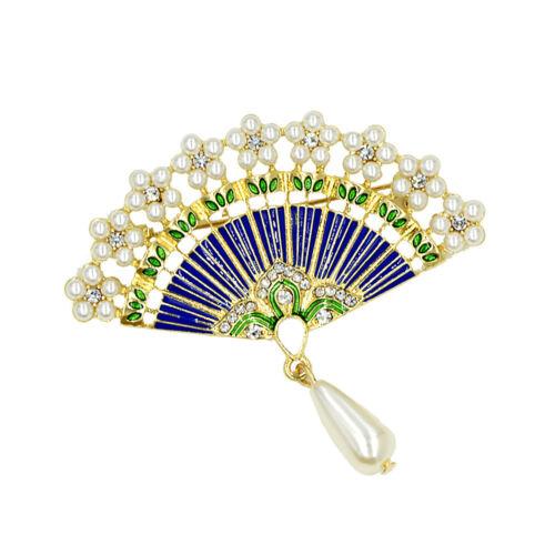 Charms perle fleur de cristal Ventilateur broches plaqué or émail Broche Pin pour dame