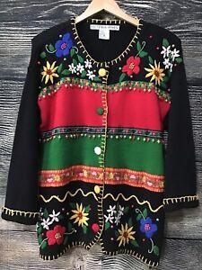 vintage Christmas jumper cardigan cotton ramie sequin soldiers beaded Victoria Jones black repaired ML