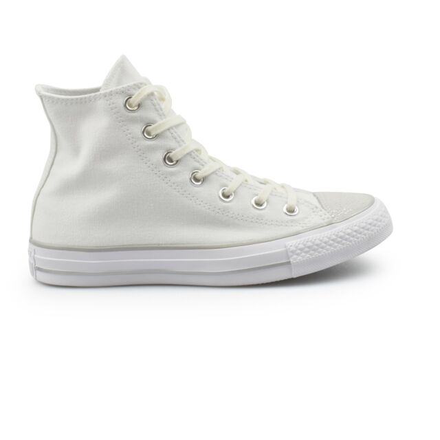 1ea320a2835d Converse Chuck Taylor All Star Hi Canvas White Metallic Toe Women s  Trainers New