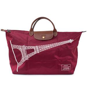 longchamp le pliage france tour eiffel paris burgundy x large bag handbag new ebay. Black Bedroom Furniture Sets. Home Design Ideas