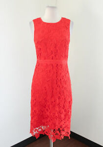Details About Ann Taylor Orange Floral Lace Dress Size 0 Sleeveless Cocktail Evening