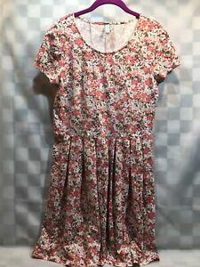 SAHALIE-Floral-Pink-White-Brown-Dress-Box-Pleat-Women-039-s-Size-M